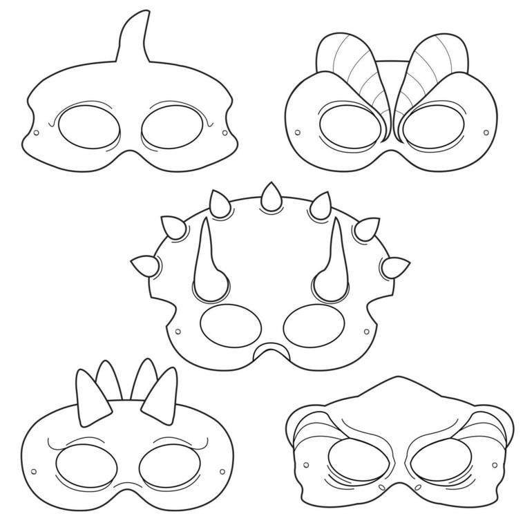Disegni maschere di carnevale, travestimento da dinosauro, disegni da colorare
