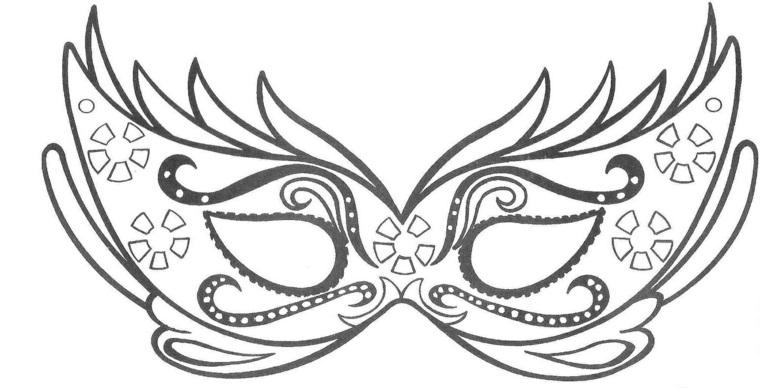 Disegni da colorare carnevale, mascherina con ornamenti, travestimento per carnevale