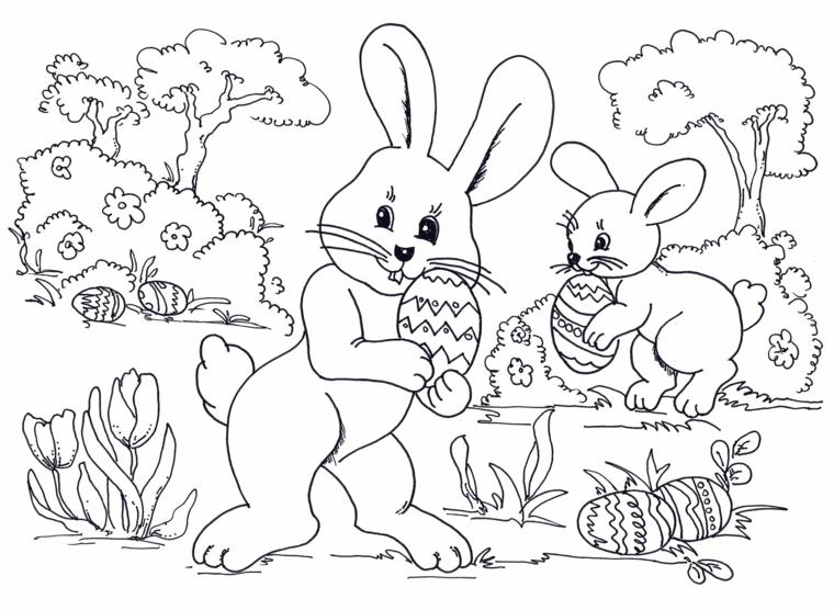 Uova di Pasqua da colorare, coniglietti con uova, fiori da colorare