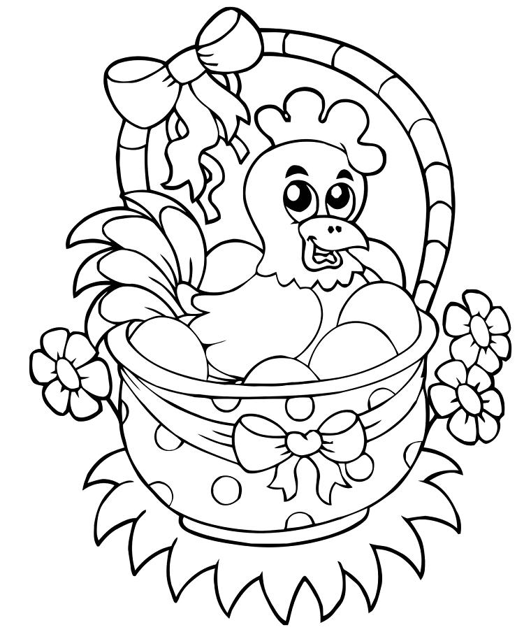 Gallina in cesto, disegno con gallina, lavoretti creativi Pasqua