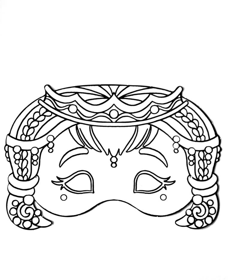 Maschere da colorare, disegno di una bambina con capelli, travestimento per bambine