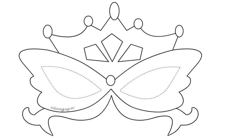 Maschere di carnevale da colorare, disegno di una corona, travestimento per bambine
