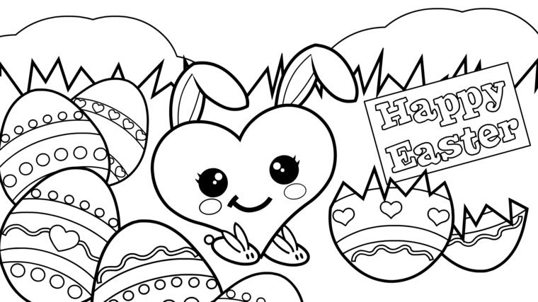 Disegni uova di Pasqua, disegno di un cuore, scritta Happy Easter