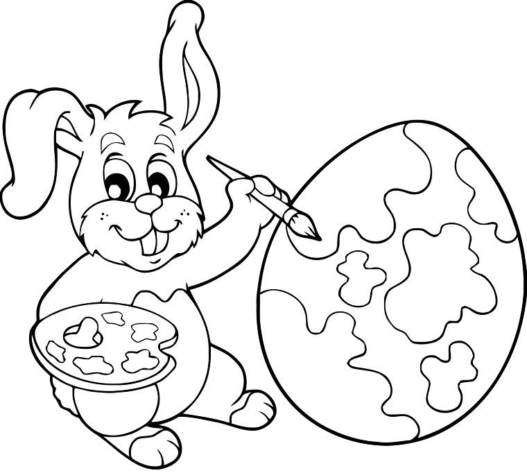 Disegni da colorare e stampare gratis, uovo con macchie, coniglietto che disegna