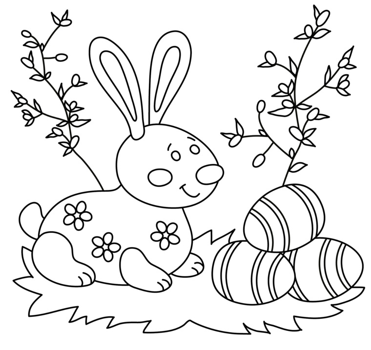 Uova di Pasqua da colorare, coniglietto con fiori, immagine da colorare