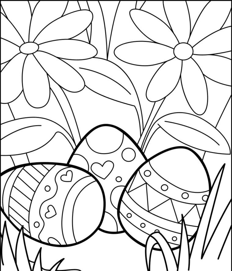Uova di Pasqua da colorare, ovetti con ornamenti, immagine da colorare