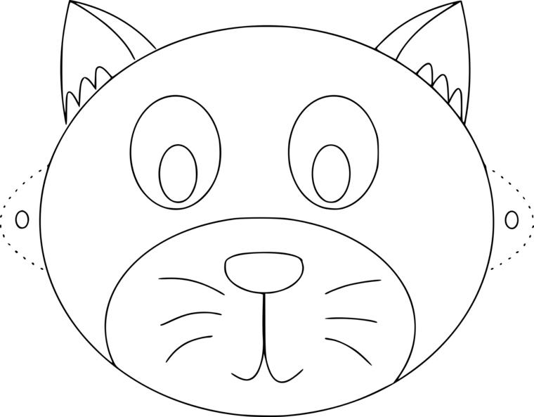 Maschere di carnevale da stampare e colorare, disegno di un gatto
