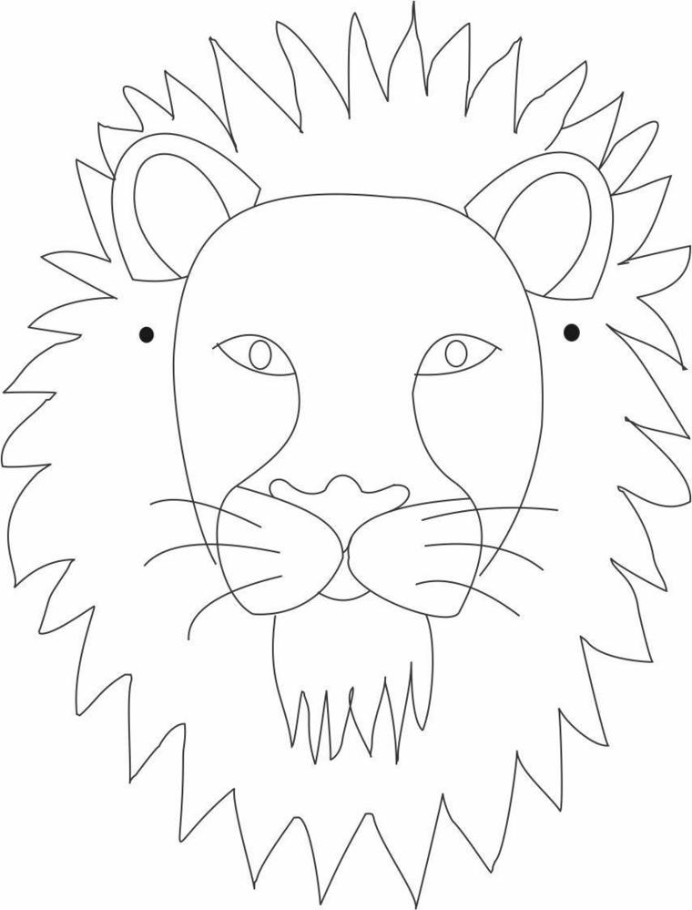 Disegni di carnevale, disegno di un leone, travestimento da ritagliare