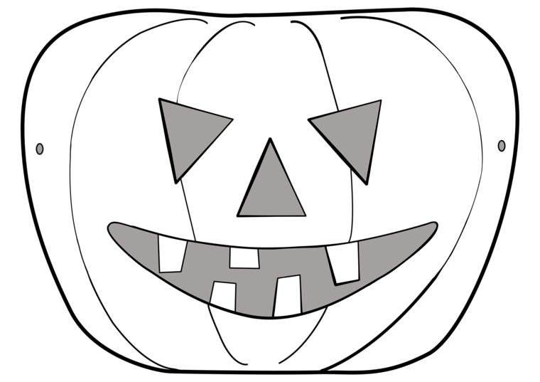 Disegno di una zucca intagliata, maschere per bambini, travestimento per Halloween
