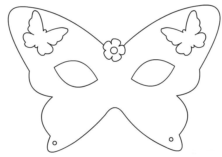 Disegni carnevale da colorare, maschera per bambine, disegno di farfalle