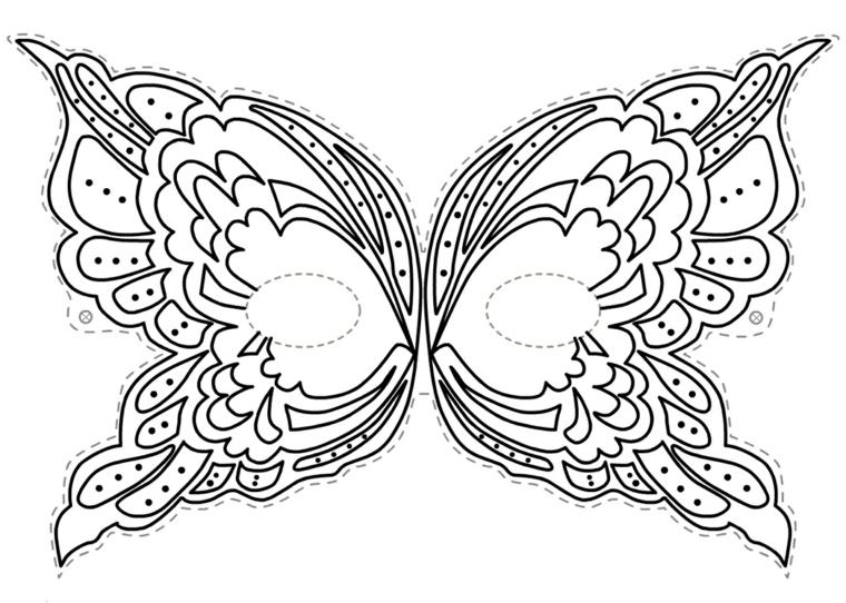 Disegni carnevale da colorare, disegno di una farfalla, mascherina da colorare