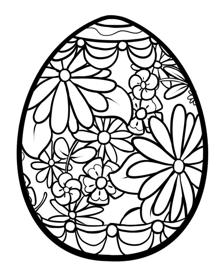 Disegni da colorare e stampare gratis, uovo con fiori, fiori da colorare