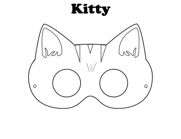 Disegno gattino, disegni da colorare carnevale, maschera per bambine