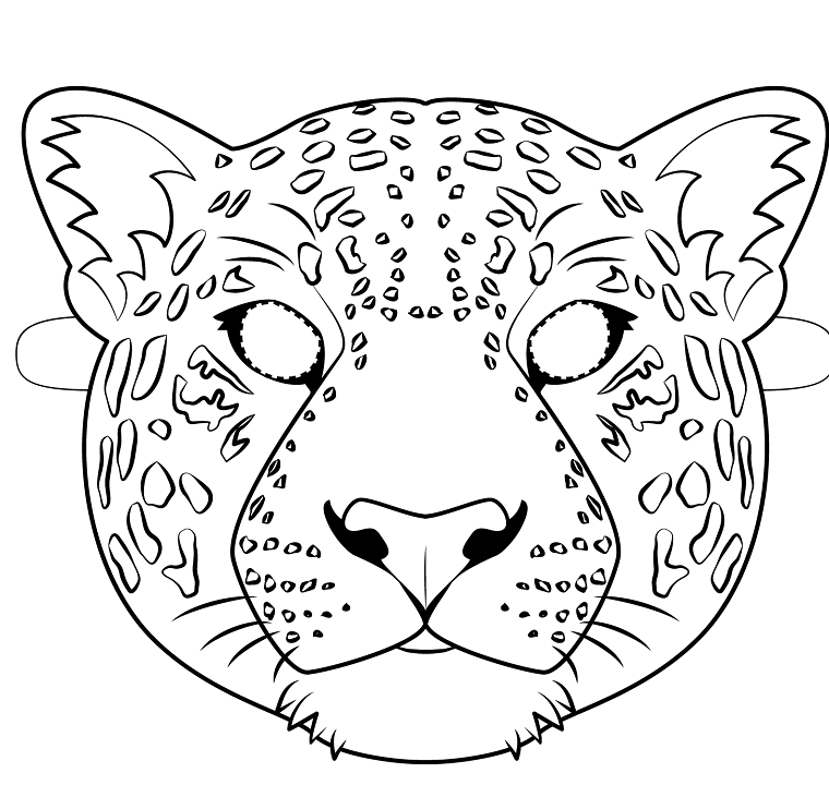 Maschere per bambini, travestimento da giaguaro, disegno da ritagliare