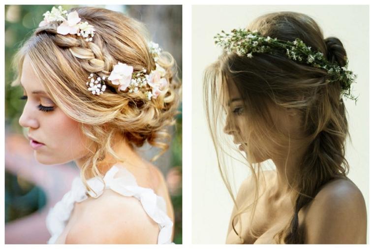 Acconciature cerimonia capelli media lunghezza, capelli biondi, accessori capelli sposa
