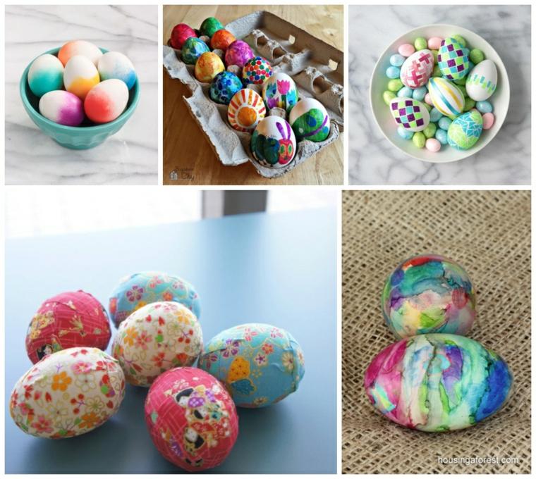 Uova decorate con decoupage, lavoretti creativi pasqua, ciotola con uova sode