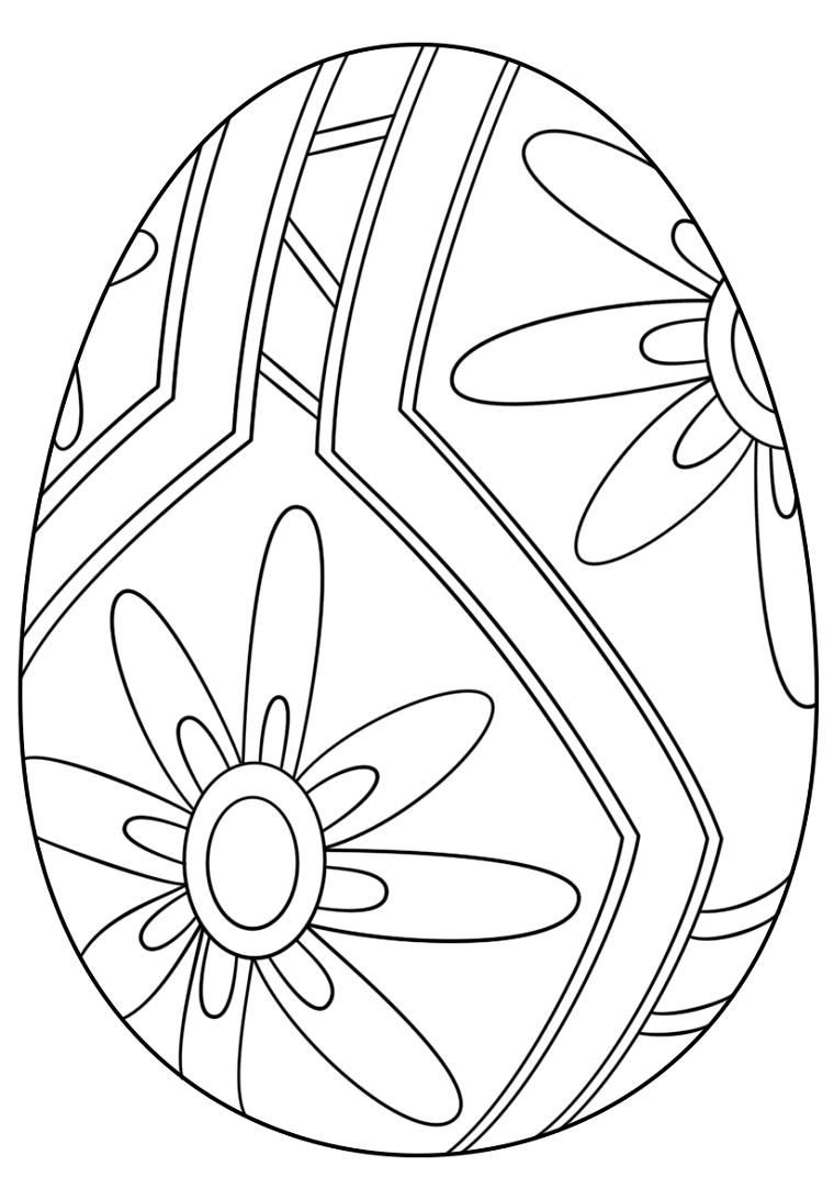 Uova di Pasqua da colorare, disegno di un uovo, fiori con petali lunghi