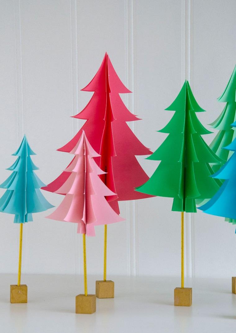 Lavoretti di Natale facili, albero di Natale, alberelli di carta