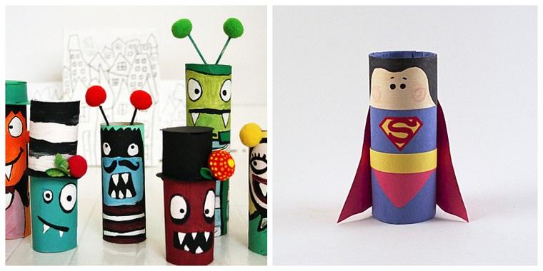 Lavoretti per bambini facili, rotoli di carta igienica, disegno superman