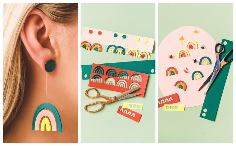 Lavoretti per bambini facili, orecchini arcobaleno