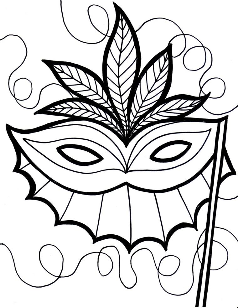 Disegni maschere di carnevale, mascherina da ritagliare