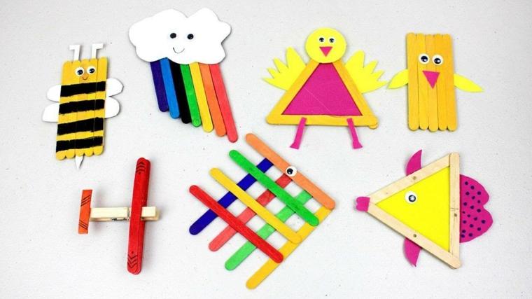 Figurine di legno, bastoncini di legno colorati, lavoretti estivi per bambini