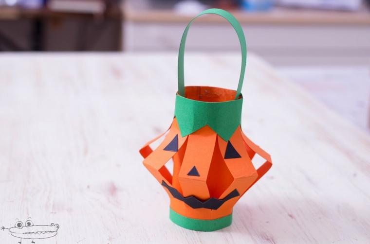 Lanterna di carta, decorazioni per Halloween, zucca di carta