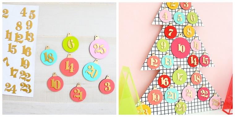 Calendario dell'Avvento, cerchi creativi di legno, lavoretti di Natale facili