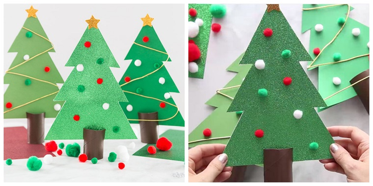 Lavoretti di Natale facili, albero di Natale, albero addobbato con pom pom