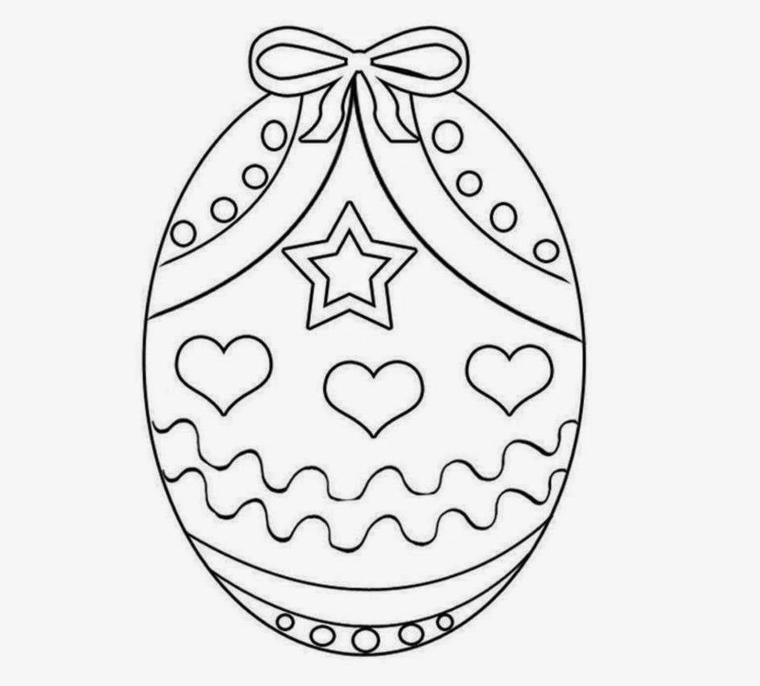 Come colorare le uova di Pasqua, uovo con fiocco, disegni cuori e stella