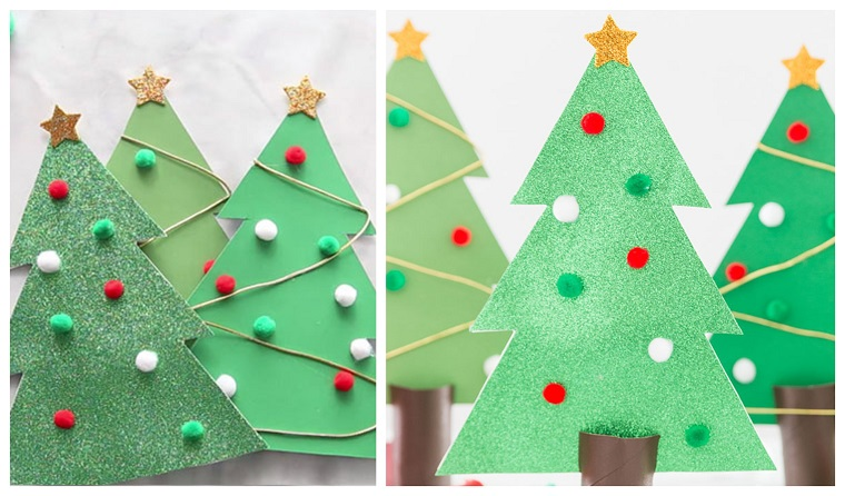 Alberi di Natale originali, lavoretti creativi Natale, addobbi con pom pom