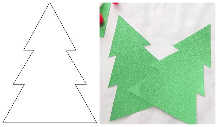 Lavoretti creativi Natale, disegno a matita, sagoma cartone glitter