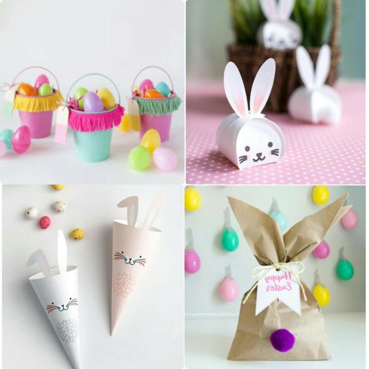 Addobbi pasquali, decorazione con coniglietti, cestini con uova