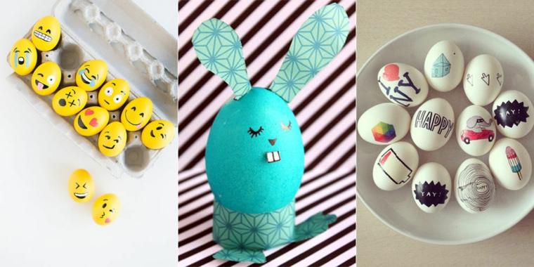 Uovo dipinto come coniglietto, lavoretti di pasqua semplici
