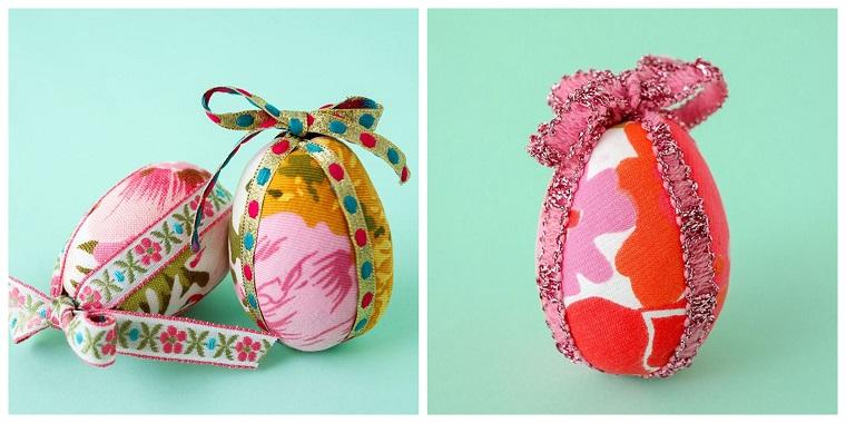 Addobbi pasquali fai da te, uova dipinte con stoffa, uova di polistirolo decorate