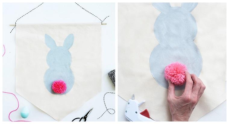 Coniglietto con pom pom, lavoretti creativi pasqua, ghirlanda pasquale