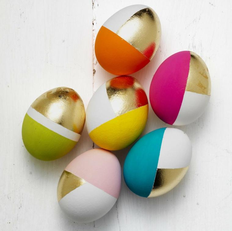 Lavoretti di pasqua semplici, uova sode dipinte, disegni forme geometriche