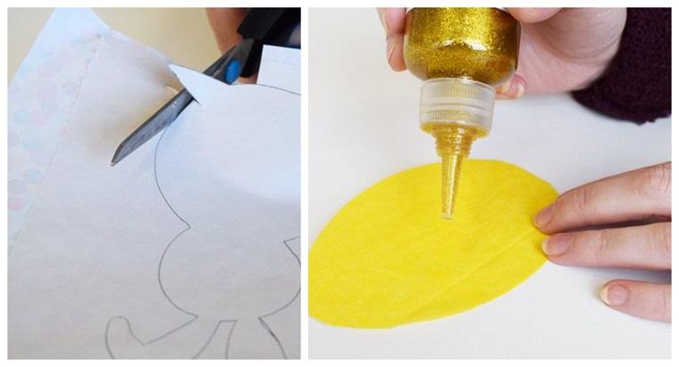 Disegno di coniglietto, uovo giallo con colla glitter, addobbi pasquali fai da te