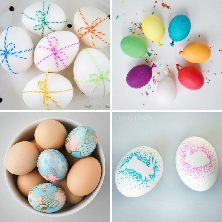 Decorazioni pasquali fai da te, uova sode dipinte, stencil per dipingere uova