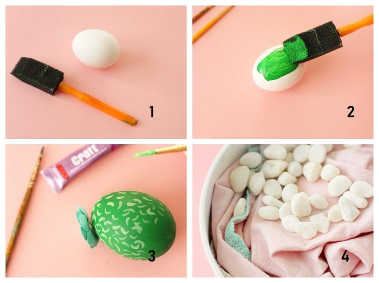 Lavoretti creativi Pasqua, tutorial con uova, dipingere uovo sodo