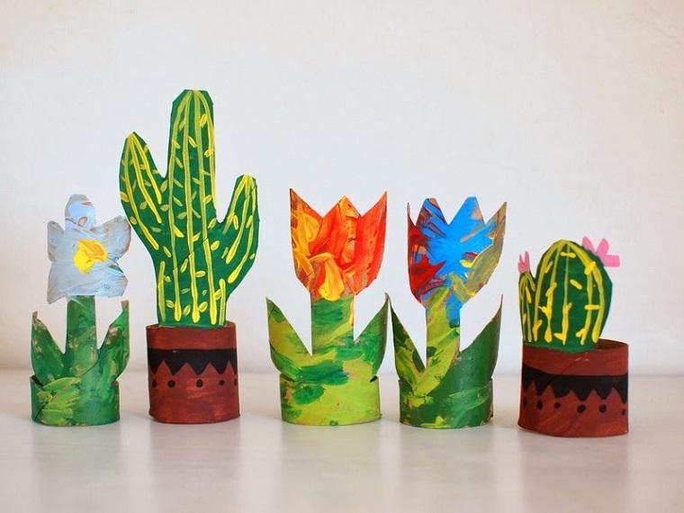 Lavoretti per bambini, fai da te con rotoli di carta, disegni di piante