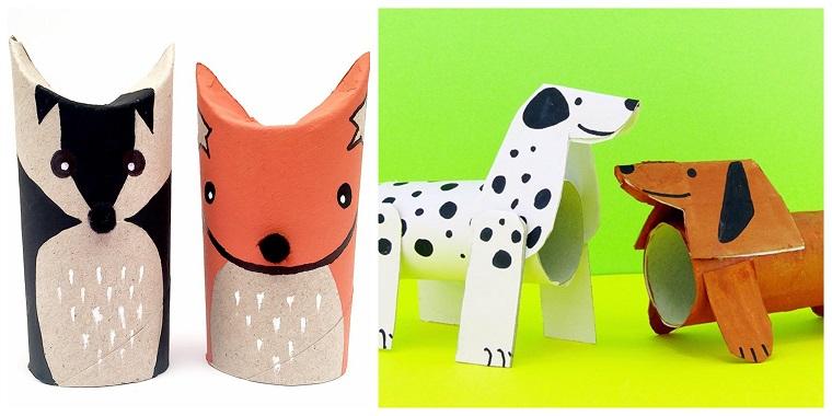 Attività ludiche per bambini, fai da te con rotoli di carta igienica, cane e volpe