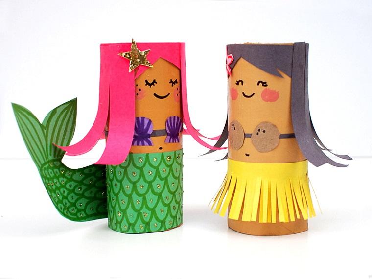 Lavoretti per bambini facili, rotoli di carta, sirena con capelli rosa