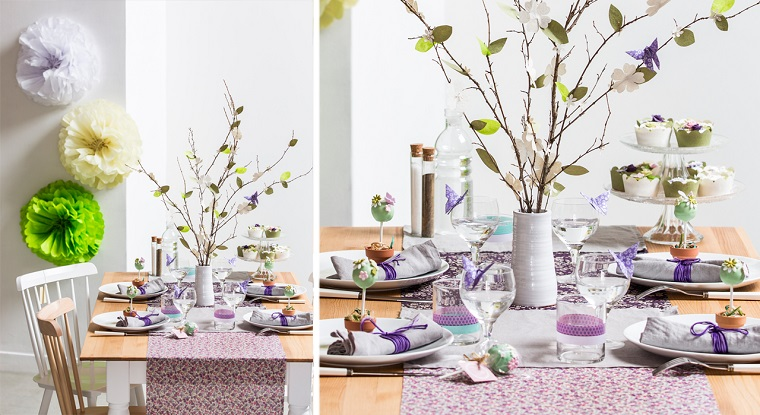 Segnaposto pasquali, tavolo apparecchiato, albero pasquale