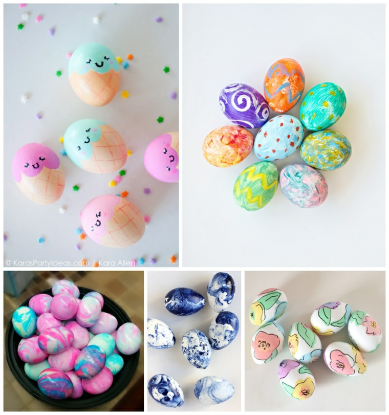 Lavoretti di pasqua fai da te, uova sode dipinte, disegni su uova sode