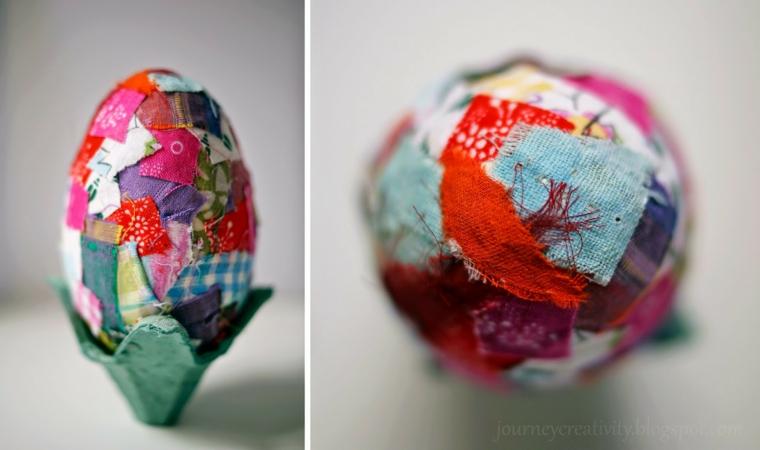 Addobbi pasquali, uovo decorato con decoupage, decorazione uovo con stoffa