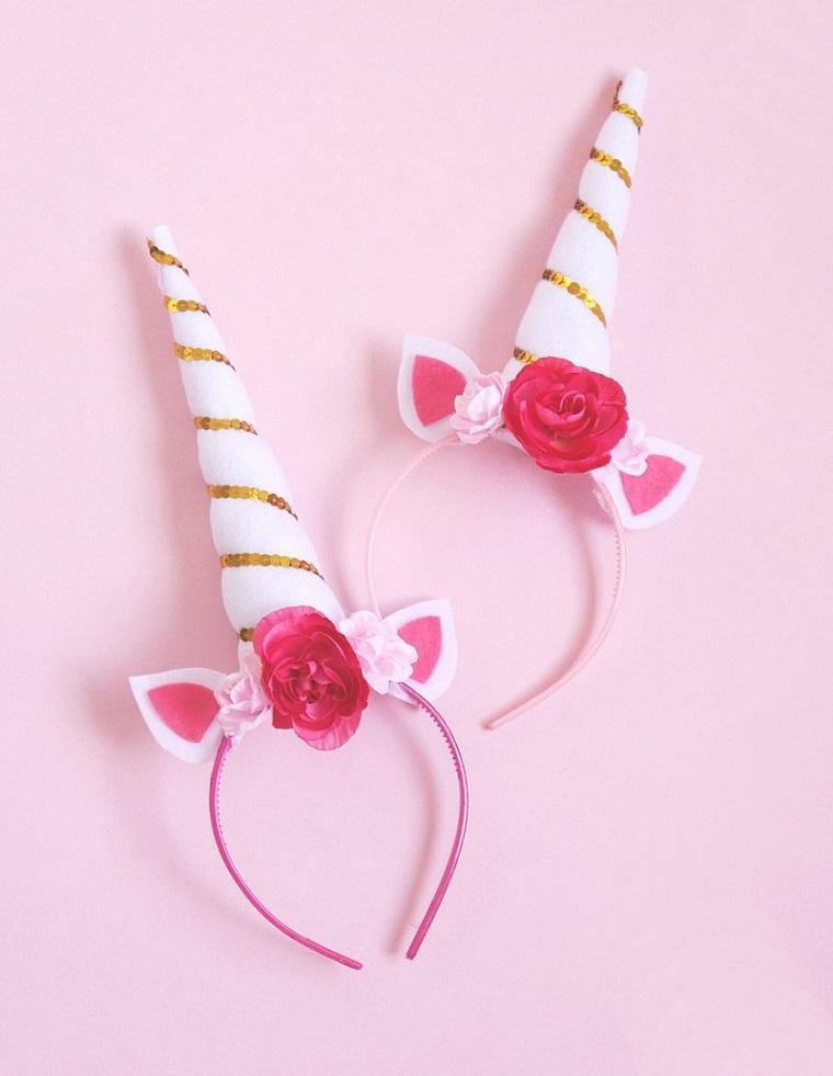Cerchietto con unicorno, lavoretti estivi, fiorellini colorati