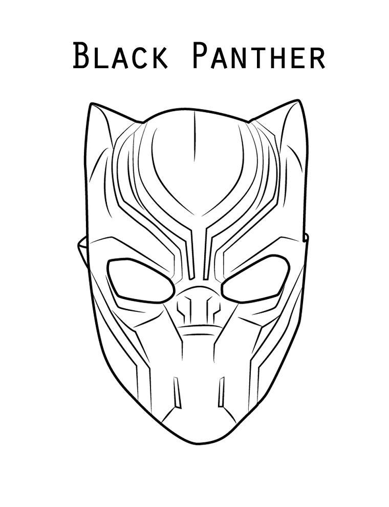 Maschere per bambini, disegno di Black Panther, disegno eroe della Marvel