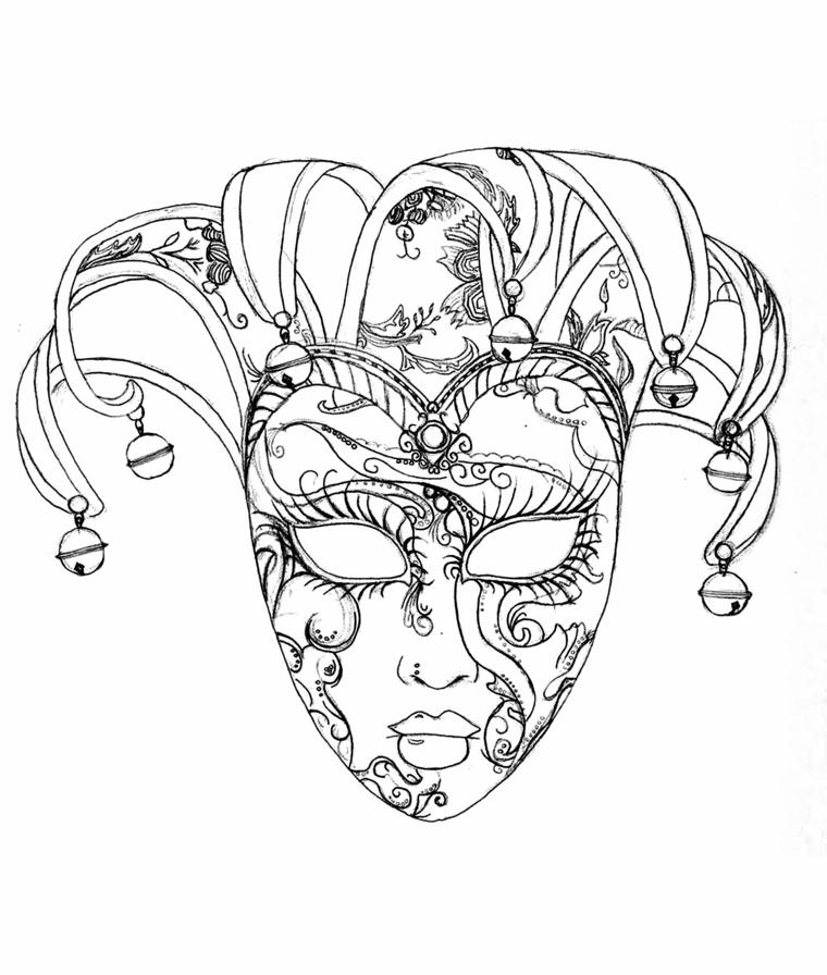 Disegni di carnevale, mascherina di Venezia con ornamenti