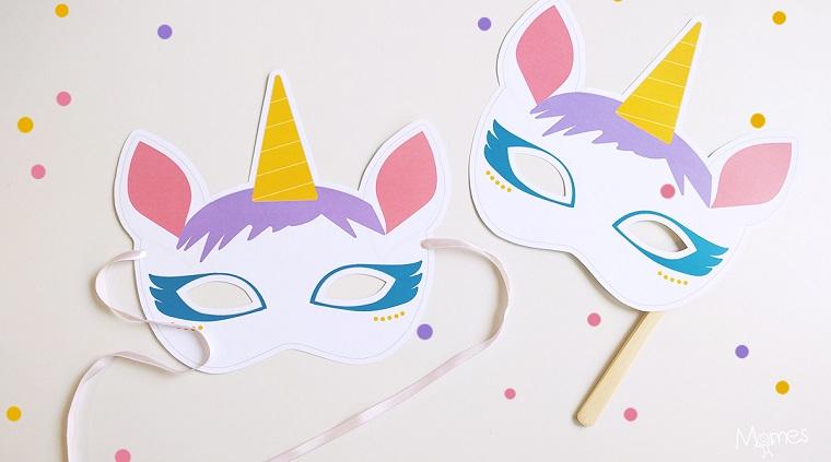 Maschere per bambini, due maschere con nastro, maschera con unicorno